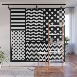 Mixed Patterns (Horizontal Stripes/Polka Dots/Wavy Stripes/Chevron/Checker) Wall Mural