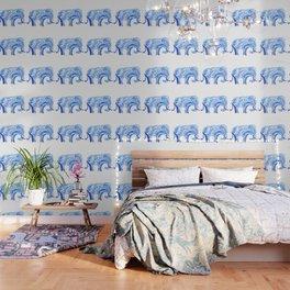 blue elephant watercolor Wallpaper