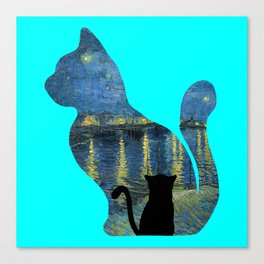 Cat Watching The Starry Night Over The Rhone - Van Gogh Painting Canvas Print