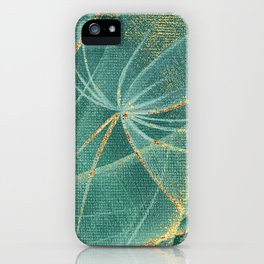 Abstract dandelions flowers with golden streaks and rust spots iPhone Case
