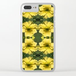 211 - Yellow lilies abstract pattern Clear iPhone Case