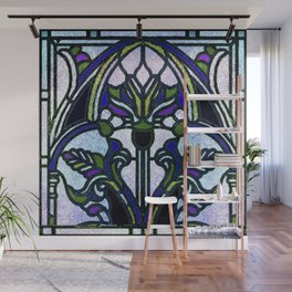 Blue and Green Glowing Art Nouveau Stain Glass Design Wall Mural