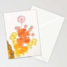 Flowers and Leaves Abstract - Orange Stationery Cards