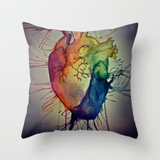 Rainbow Heart Throw Pillow