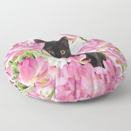 Black Cat Lotos Flower Gras Floor Pillow