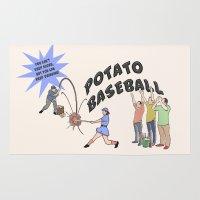 potato Area & Throw Rugs featuring Potato Baseball by Gas Station Burrito