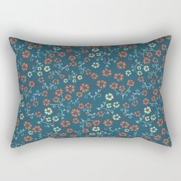 Orange and yellow aster flowers on blue Rectangular Pillow