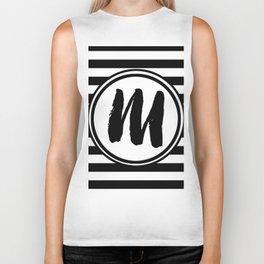 M Striped Monogram Letter Biker Tank