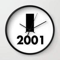 2001 a space odyssey Wall Clocks featuring 2001: A Minimalist Space Odyssey by João Malossi