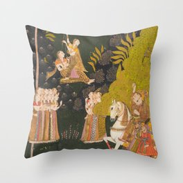 Maharaja Abhai Singh, Equestrian, Watching Girls Swinging at the Teej Festival - 18th Century Indian Art Throw Pillow