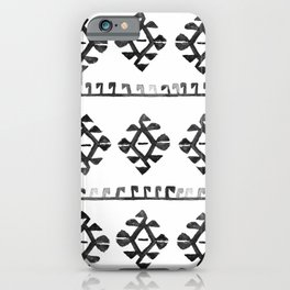 Black and White Bohemian Tribal Ethnic Kilim Pattern iPhone Case