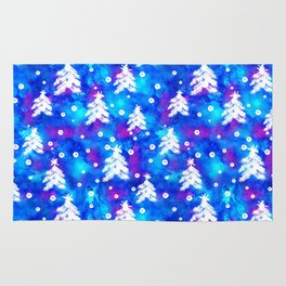 Watercolor Seamless pattern with hand drawn snowflakes and christmas tree . Rug
