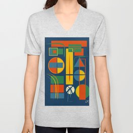 French Abstract Geometric Abstract with Circles, Rectangles and Triangles Unisex V-Neck