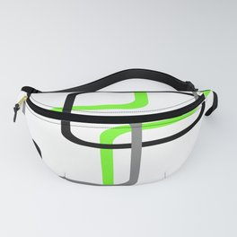Geometric Rounded Rectangles Collage Lime Green Fanny Pack