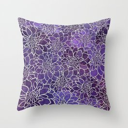 Dahlia Flower Pattern 3 Throw Pillow