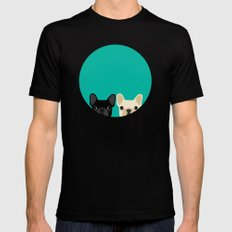 2 French Bulldogs LARGE Black Mens Fitted Tee
