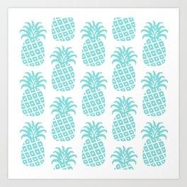 Retro Mid Century Modern Pineapple Pattern 731 Turquoise Art Print