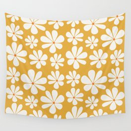 Floral Daisy Pattern - Golden Yellow Wall Tapestry
