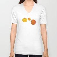 thanksgiving V-neck T-shirts featuring Pumpkins. Thanksgiving day. by rusanovska