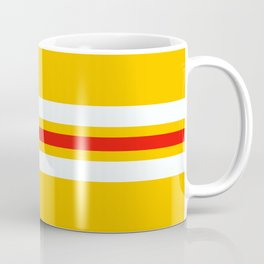 Classic Amanozako - Yellow White Red Vintage Style Retro Stripes Coffee Mug