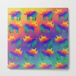 Rainbow Rhino - Stampede Metal Print