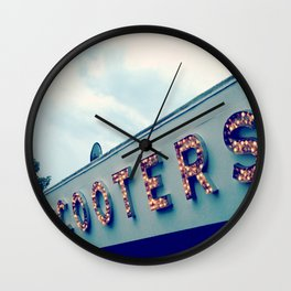 Scooters ~ vintage carnival sign ~ lights Wall Clock
