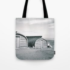 Holy Island Boat Sheds Tote Bag