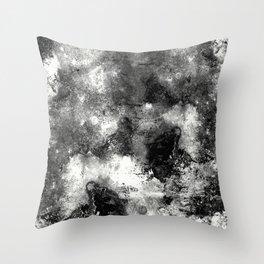 Deja Vu - Black and white, textured painting Throw Pillow