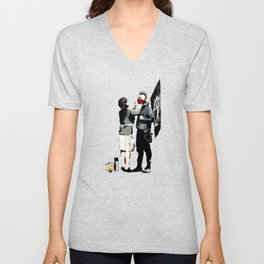 Banksy, Anarchist Punk And His Mother Artwork, Posters, Prints, Bags, Tshirts, Men, Women, Kids Unisex V-Neck