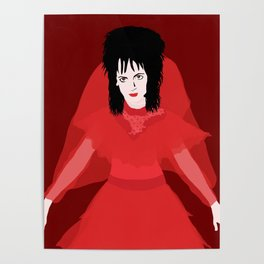Lydia in Red on Maroon Poster