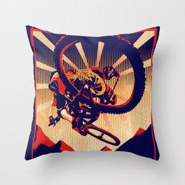 retro mountain bike poster: kick some gravity ass Throw Pillow