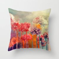takmaj Throw Pillows featuring Allium by takmaj