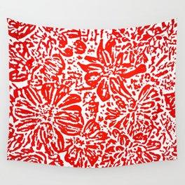 Marigold Lino Cut, Red Wall Tapestry