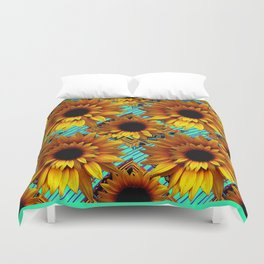 ANTIQUE GOLDEN SUNFLOWER TURQUOISE MODERN ART Duvet Cover