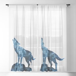 Howling Wolf blue sparkly smoke silhouette Sheer Curtain