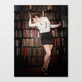 """""""Hot for Reading"""" - The Playful Pinup - Sexy Librarian Pin-up Girl by Maxwell H. Johnson Canvas Print"""