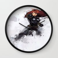 black widow Wall Clocks featuring Black Widow by Isaak_Rodriguez