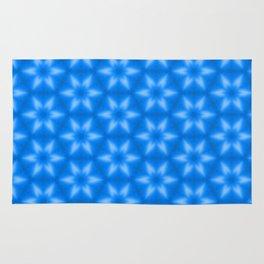 Shiny blue wood texture snowflake stars pattern Rug