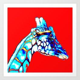 Colorful Giraffe Red (Right facing) Art Print