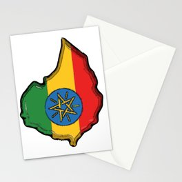 Ethiopia Map with Ethiopian Flag Stationery Cards
