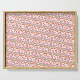 Pisces Trendy Rainbow Text Pattern (Pink) Serving Tray