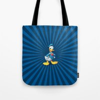 donald duck Tote Bags featuring Donald - The Duck by applerture