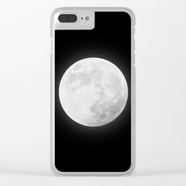 CHALK WHITE MOON Clear iPhone Case