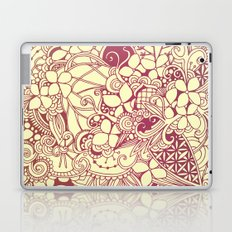 Yellow square, pink floral doodle, zentangle inspired art pattern Laptop & iPad Skin