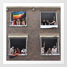Watching the Pride Parade Art Print