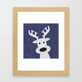 Christmas reindeer blue marble Framed Art Print