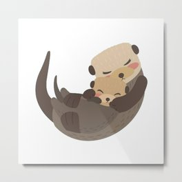 Otter Mother and Child Metal Print
