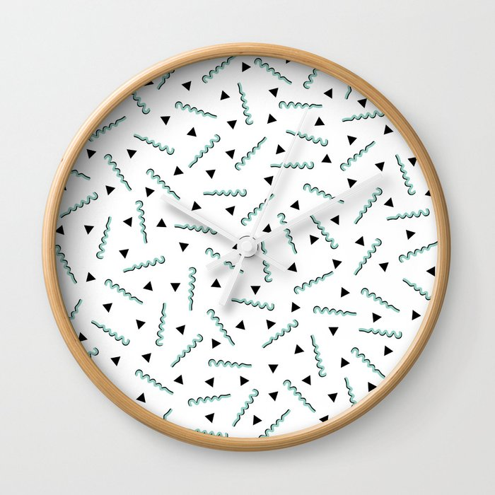 Retro Memphis Pattern Squiggle Green and Black Triangles Wall Clock