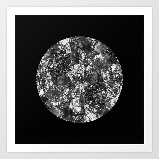 Silver Moon - Abstract, textured silver foil lunar design Art Print