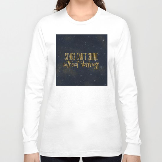 Stars- Darkness - sparkling gold glitter effect night typography 1 on #Society6 Long Sleeve T-shirt